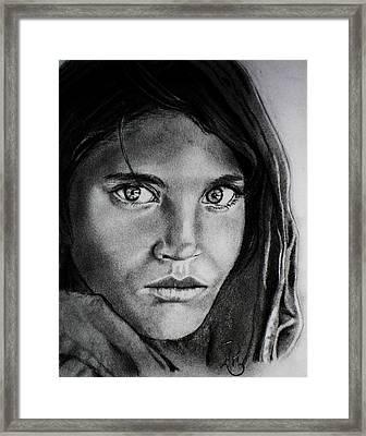 Sharbat Gula Framed Print by Andrea Realpe