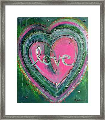 Framed Print featuring the painting Share My Love Heart by Laurie Maves ART