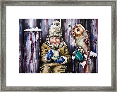 Framed Print featuring the painting Sharing A Hot Chocolate by Geni Gorani