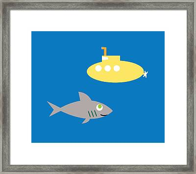 Shark And Submarine Framed Print by Pbs Kids