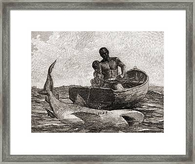 Shark Fishing, Nassau Bar Framed Print