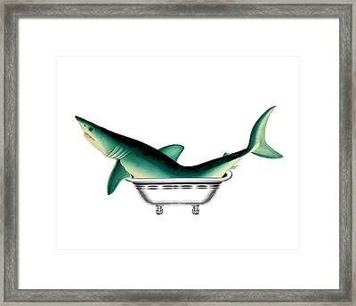 Shark In The Bath Framed Print by Madame Memento