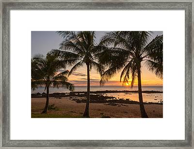 Sharks Cove Sunset 3 - Oahu Hawaii Framed Print by Brian Harig
