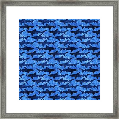 Sharks In The Deep Blue Sea Framed Print