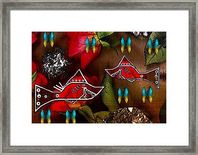 Sharks In The Magical Garden Of Peace Framed Print