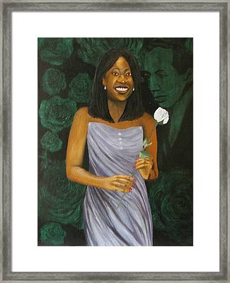 Sharon's Rose With Langston Framed Print by Angelo Thomas