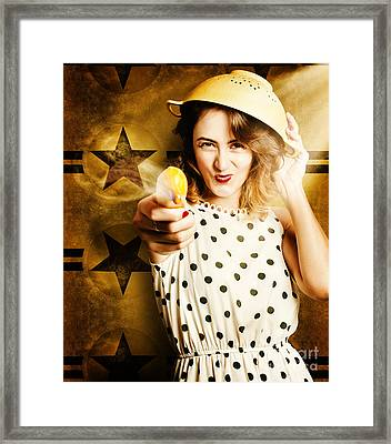 Sharp Shooting Housewife Feeding An Army Framed Print