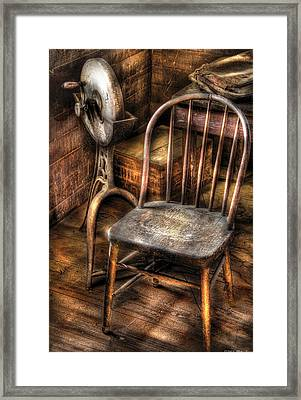 Sharpener - Grinder And A Chair Framed Print by Mike Savad