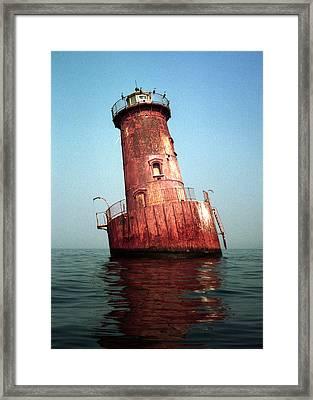 Sharps Island Lighthouse Chesapeake Bay Maryland Framed Print by Wayne Higgs