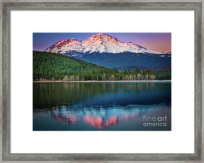 Shasta Reflection Framed Print by Inge Johnsson