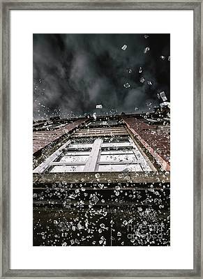 Shattering Pieces Of Glass Falling From Window Framed Print by Jorgo Photography - Wall Art Gallery