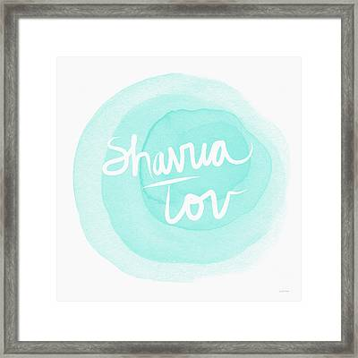 Shavua Tov Blue And White- Art By Linda Woods Framed Print by Linda Woods