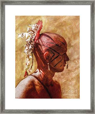 Shawnee Indian Warrior Portrait Framed Print by Randy Steele