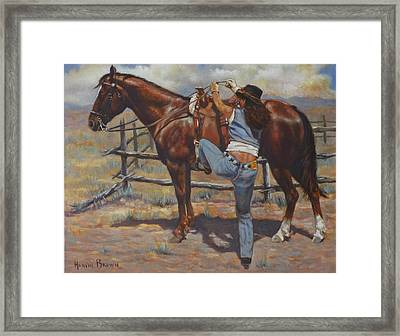 Shawtie-butt And Cowboy Framed Print by Harvie Brown