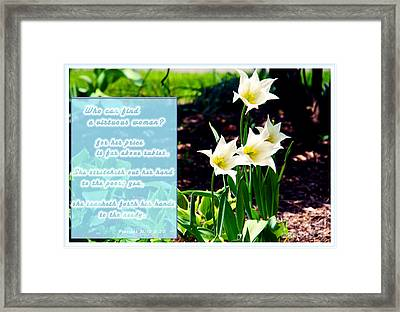She Cares Framed Print by Terry Wallace