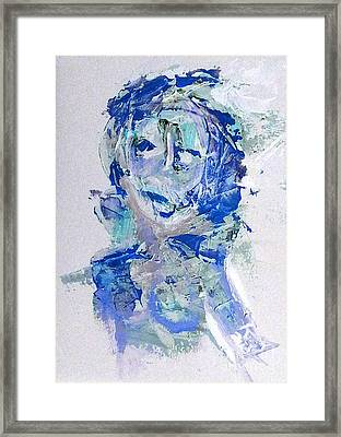 She Dreams In Blue Framed Print