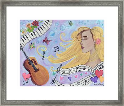 She Dreams In Music Framed Print