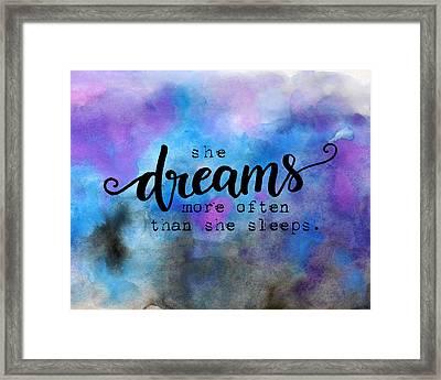 She Dreams Pillow Framed Print