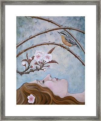 Framed Print featuring the painting She Dreams The Spring by Sheri Howe