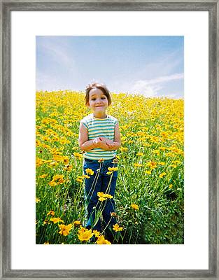 She Loves Yellow Framed Print