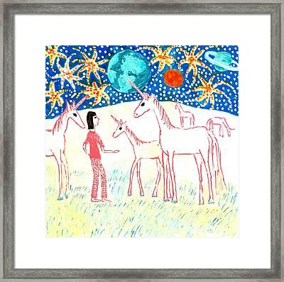She Meets The Moon Unicorns Framed Print by Sushila Burgess