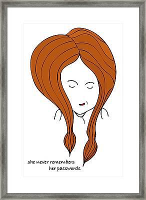 She Never Remembers Her Passwords Framed Print by Frank Tschakert