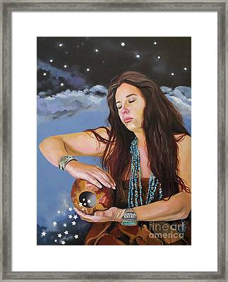 She Paints With Stars Framed Print by J W Baker