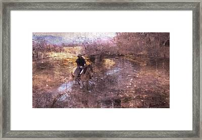 She Rides A Mustang-wrangler In The Rain II Framed Print by Anastasia Savage Ealy
