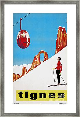 She Skis Alone Snow Skiing Framed Print by Tina Lavoie
