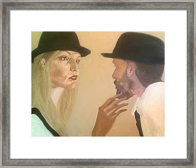 She Touches His Beard And Looks Framed Print