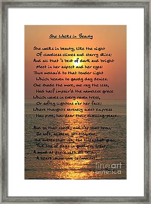 She Walks In Beauty-cape May Sunset Framed Print