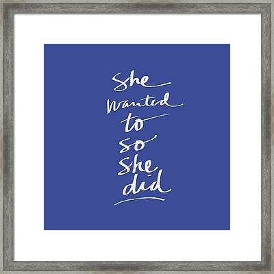 She Wanted To Blue- Art By Linda Woods Framed Print