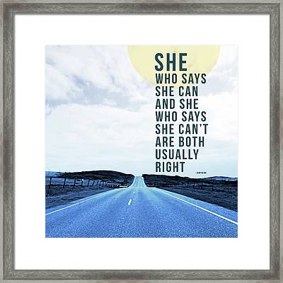 She Who Can- Art By Linda Woods Framed Print
