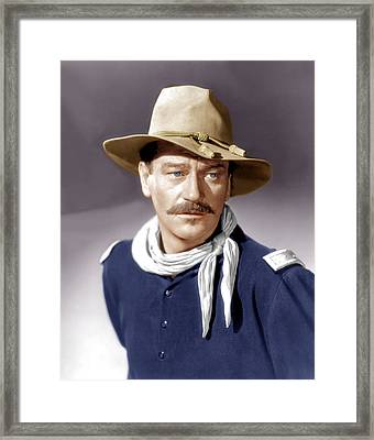 She Wore A Yellow Ribbon, John Wayne Framed Print by Everett