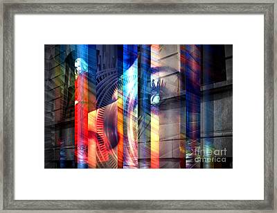 She Wore Red In Park Slope Framed Print by John Rizzuto