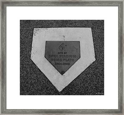 Shea Stadium Home Plate In Black And White Framed Print
