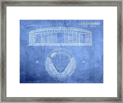 Shea Stadium New York Mets Baseball Field Blueprints Framed Print by Design Turnpike