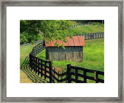 Shed And Fence Framed Print by Michael L Kimble