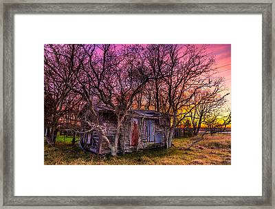 Shed And Sunset Framed Print