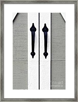 Shed Door Handles Framed Print by Ethna Gillespie