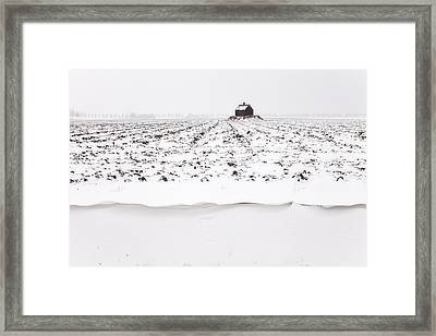 Shed On Mount In Snow, Polder The Biesbosch, Dordrecht, The Netherlands Framed Print
