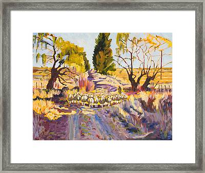 Sheep And Shepherd At Sunset Oil Painting Bertram Poole Framed Print by Thomas Bertram POOLE