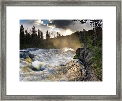 Sheep Falls Sunset Framed Print by Leland D Howard