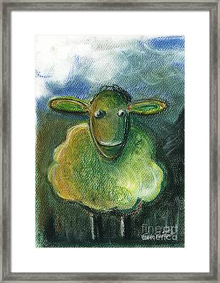 Sheep For Children Pastel Chalk Drawing Framed Print