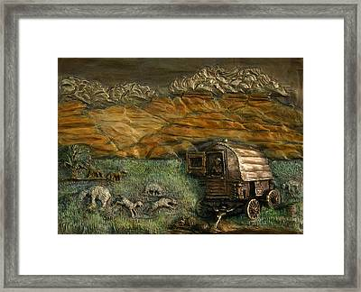 Framed Print featuring the relief Sheep Herder's Wagon From Snowy Range Life by Dawn Senior-Trask