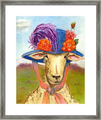 Sheep In Fancy Hat Framed Print by Susan Thomas