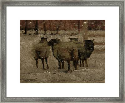 Framed Print featuring the painting Sheep In The Snow by John Reynolds