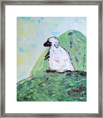 Framed Print featuring the painting Sheep On A Hill by Maria Langgle