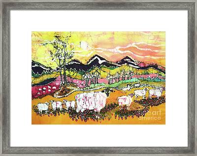 Sheep On Sunny Summer Day Framed Print by Carol Law Conklin