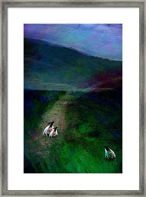 Sheep On The Moor Framed Print by Jean Moore
